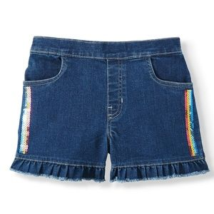 Garanimals Denim Ruffle Short Rainbow Sequin